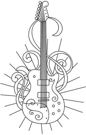 guitar coloring pages for adults guitar solo urban threads unique and awesome embroidery