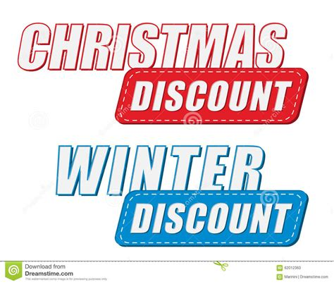 christmas and winter discount in two colors labels flat