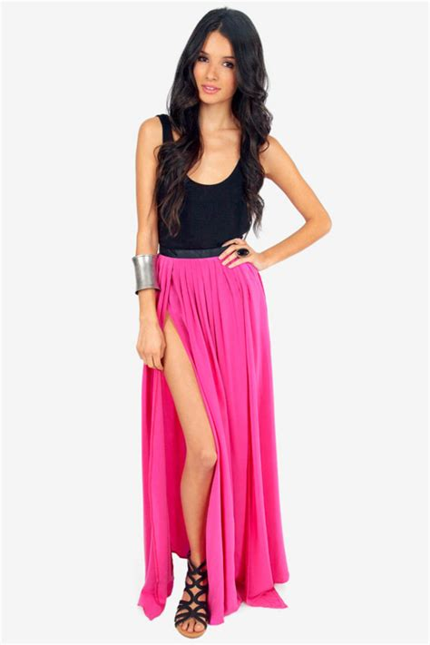 junkies oceana high slit maxi skirt tobi