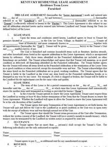 kentucky residential tenancy lease agreement kentucky