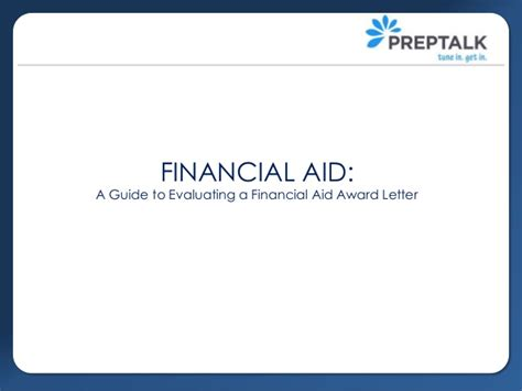 Financial Aid Award Letter Guide Evaluating Financial Aid Award Letters