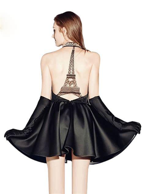 Dress Eiffel black halter plunge neck cut away eiffel tower backless
