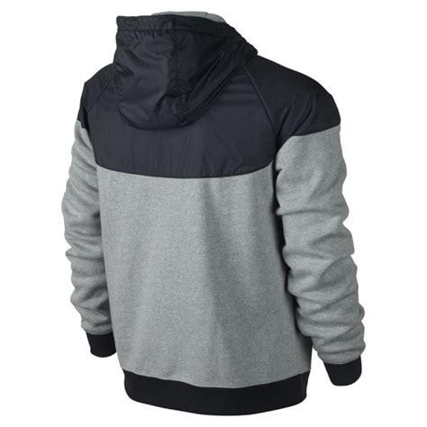 Nike Windrunner Black Grey nike s windrunner fleece mix jacket grey sports leisure thehut
