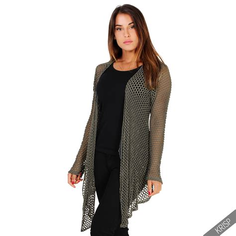 womens drape cardigan womens ladies crochet net open waterfall cardigan drape