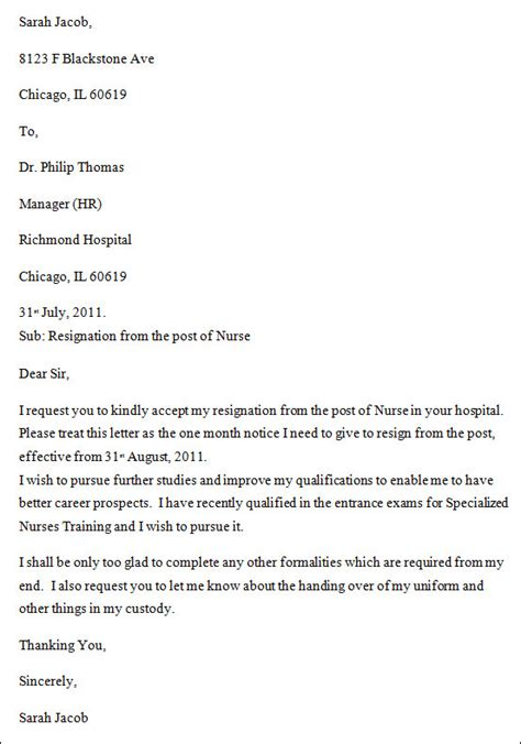 resign letter format continue study willingness