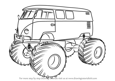 monster trucks drawings step by step how to draw a volkswagen monster truck