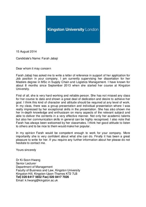 Recommendation Letter For Lecturer Academic Reference Letter Kingston