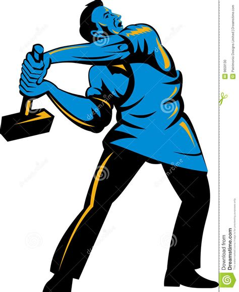 swinging a sledgehammer worker with sledge hammer stock photo image 9659130