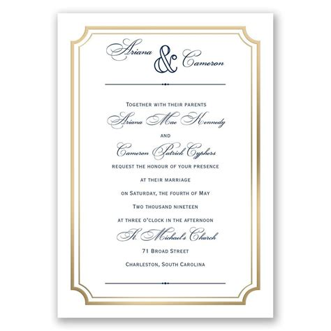Wedding Invitation Frame by Gold Frame Invitation With Free Respond Postcard S