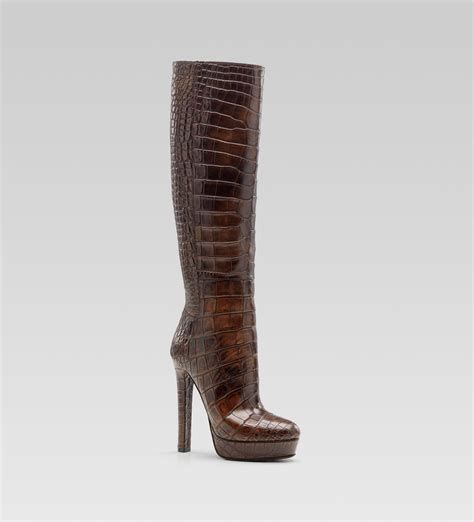 boots high heels gucci high heel platform boot in brown lyst