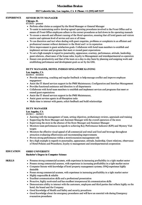 Resume Hotel Duty Manager by Duty Manager Resume Sles Velvet