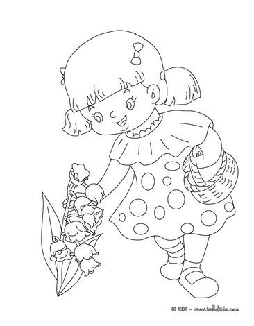 girl collecting lily of the valley coloring pages