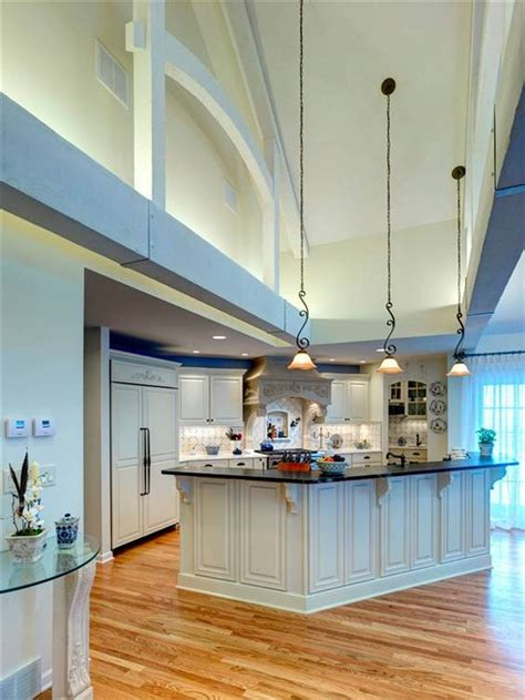 Lighting For Cathedral Ceiling In The Kitchen Kitchens Kitchen Lighting Ideas For High Ceilings Inspirations Including Ceiling Images Modern