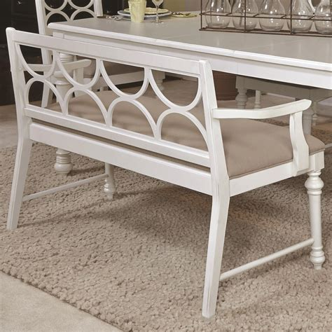 upholstered dining bench with back upholstered dining bench with decorative wood back by american drew wolf and