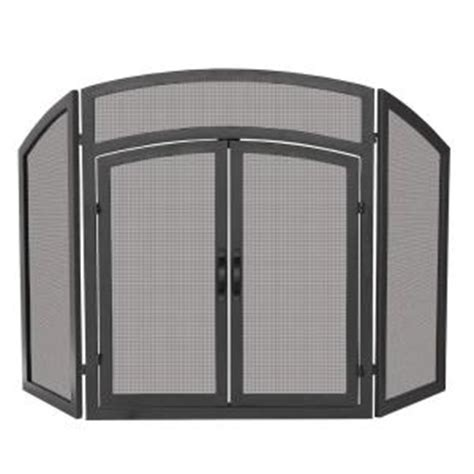 fireplace screen home depot uniflame arch top black wrought iron 3 panel fireplace screen with doors s 1178 the home depot