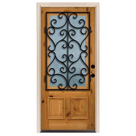 Steves And Sons Interior Doors Steves Sons 36 In X 80 In Decorative Iron Grille 3 4 Lite Stained Knotty Alder Wood Prehung