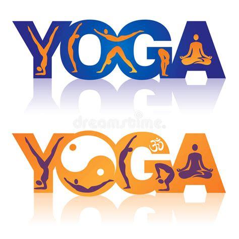 Imagenes Vectorizadas Yoga | la yoga de la palabra con yoga coloca iconos stock de