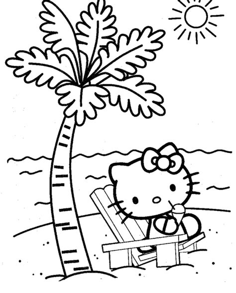 Hello Kitty Beach Coloring Page | top 30 hello kitty coloring pages to print