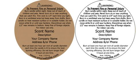 Candle Warning Labels Customized With Your Information Warning Label Template Free
