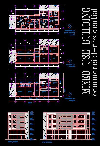 mixed  building dwg plan  autocad designs cad