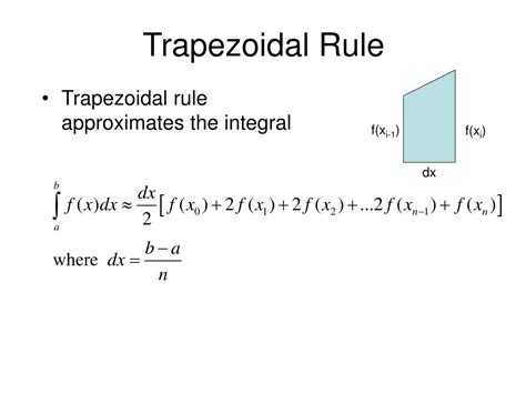 Area Of Trapezoidal Section by Ppt Chapter 4 Section 4 6 Numerical Integration
