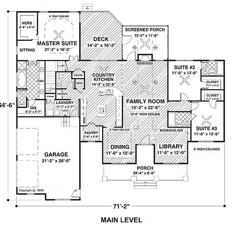 56 sq ft country style house plan 3 beds 3 5 baths 2294 sq ft
