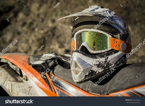 motocross helmet and goggles motorcycle motocross helmet goggles stock photo