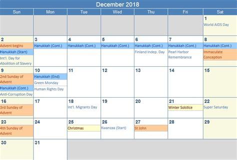 2018 Calendar United States December 2018 Calendar December 2018 Printable Calendar