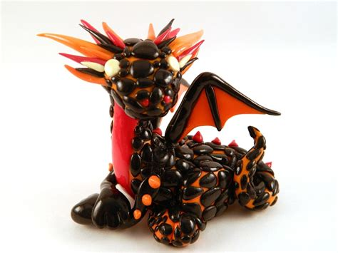 Handmade Polymer Clay Fire Dragon Sculpture by