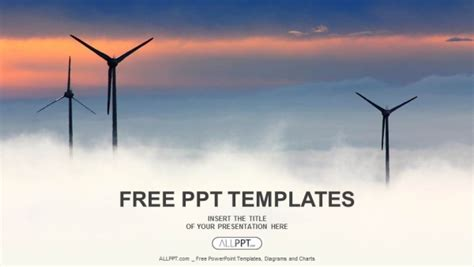 ppt templates free download wind energy windrad with cloudscape powerpoint templates