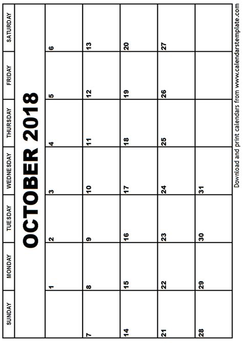 Calendar October 2018 October 2018 Calendar Template