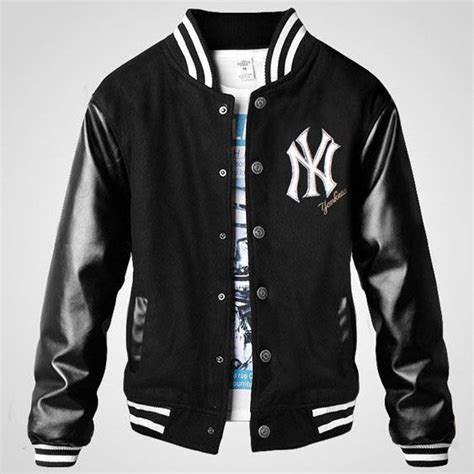 Jaket Pria Trend Line Adidas Navy Black ny yankee thicken mens letterman jacket fashion