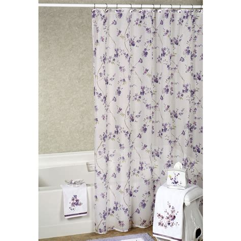 curtains purple and white shower curtain purple soozone