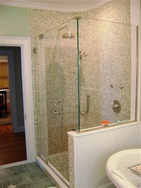 Shower With Half Wall And Glass Door Half Wall Shower Enclosures Half Wall And Frameless