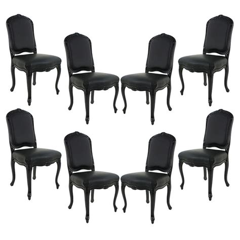 Black Dining Chairs For Sale Set Of 8 Louis Xv Black Lacquered Leather Dining Chairs