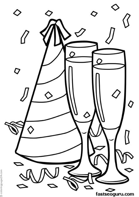 Printable Happy New Year Celebration Coloring Page Celebration Coloring Pages