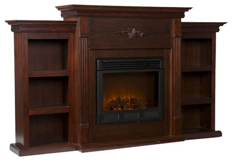 Fredericksburg Electric Fireplace With Bookcases Espresso Electric Fireplace With Bookshelves