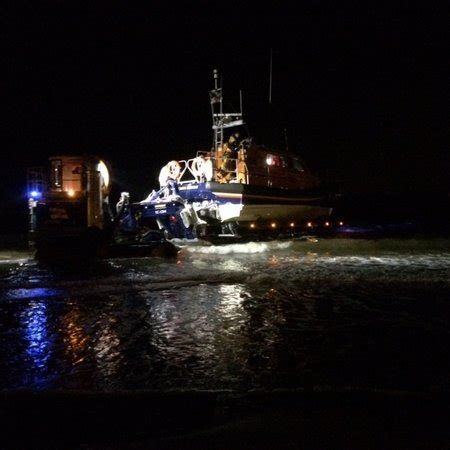 failure to launch boat scene exmouth rnli volunteers tow fishing boat through the night