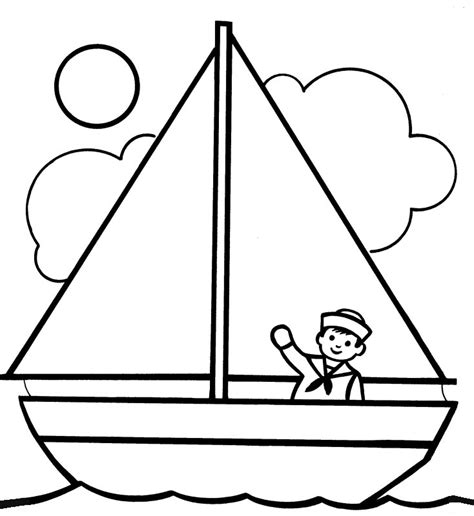 boat outline picture free printable boat coloring pages for kids best