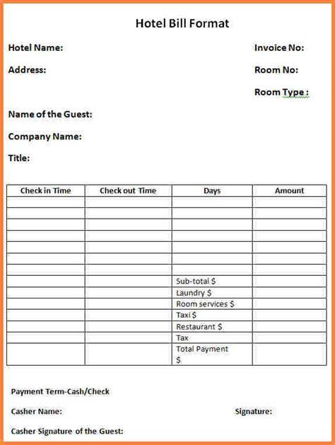 Hotel Invoice Letter 6 hotel bill format in india letter bills