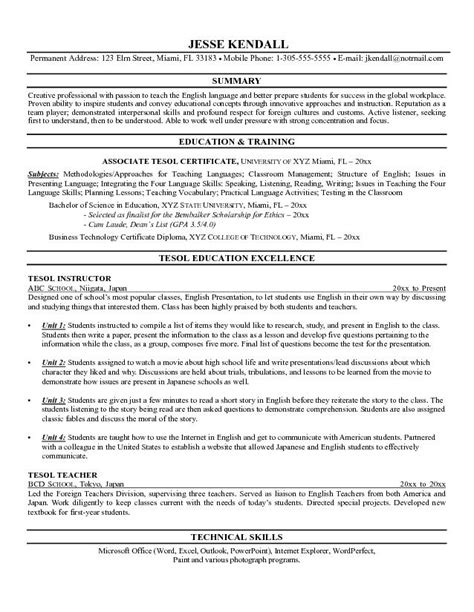instructor resume format exle of a tesl instructor resume teaching as a second language tesl
