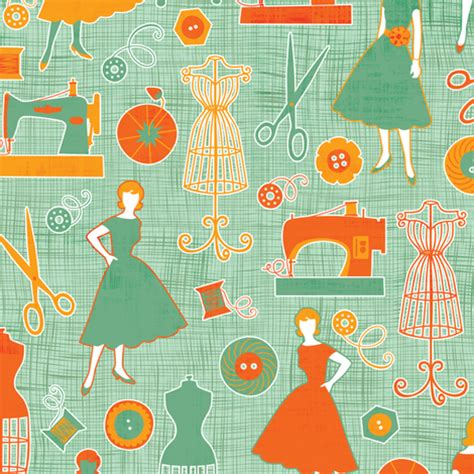 sewing pattern wallpaper sew retro fabric jennartdesigns spoonflower