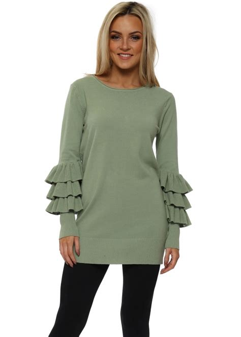 Leticia Tunic laetita mem green frill sleeve tunic jumper