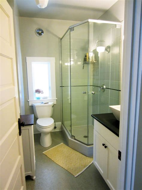modern small bathroom with corner shower room