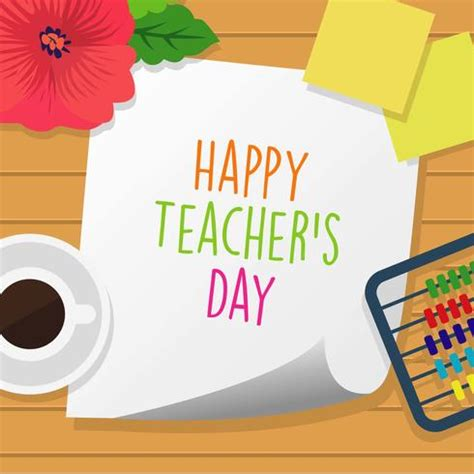 Happy Teachers Day Card Template by Happy Teachers Day Free Vector Stock