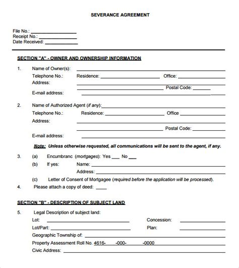 severance agreement template severance agreement 7 free sles exles format