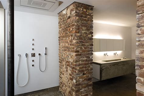 brick bathroom raw look loft in d 252 sseldorf