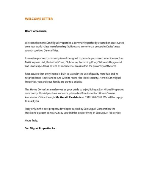 letter to homeowner to buy house home owners manual