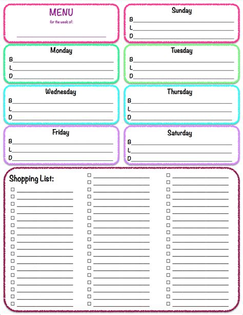 weekly meal menu and grocery list planner template sle