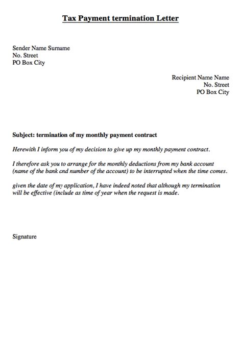 letter to bank for cancellation pay order tax monthly payment of termination letter http